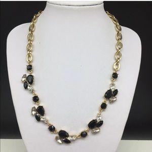 Anne Klein Black Rhinestone Gold Chain Necklace
